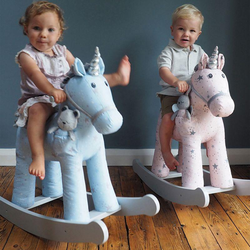 unicornios balancin de madera