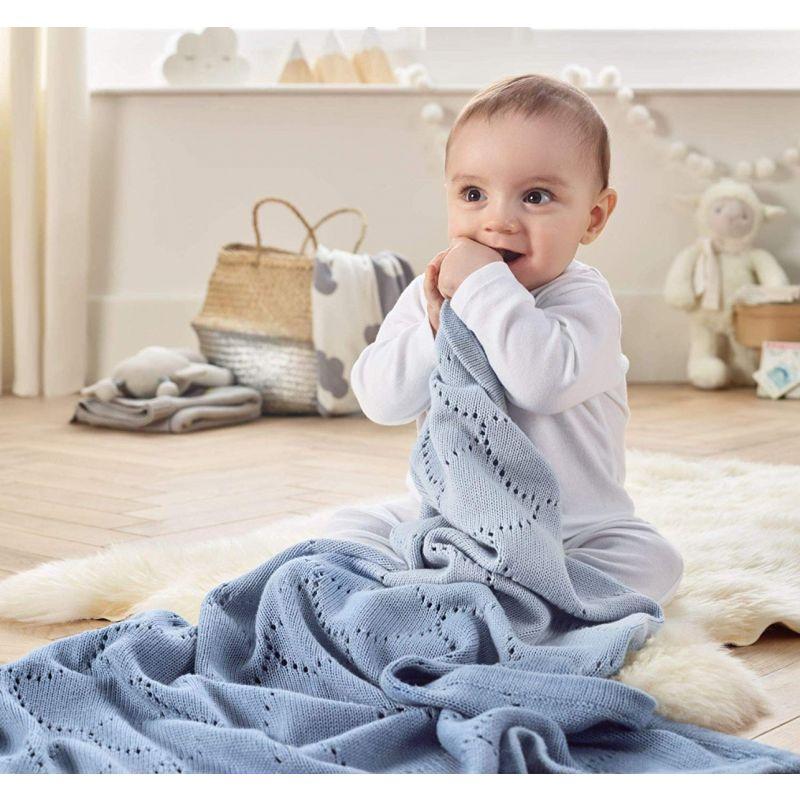 Manta calada de algodón para Bebés Dip Dye azul