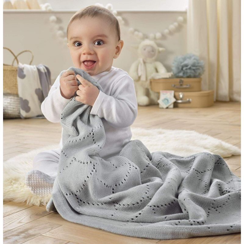 Manta calada de algodón para Bebés Dip Dye gris 70 x 90 cm - Clair de Lune