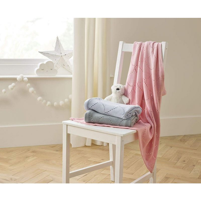 Manta calada de algodón para Bebés Dip Dye rosa 70 x 90 cm - Clair de Lune