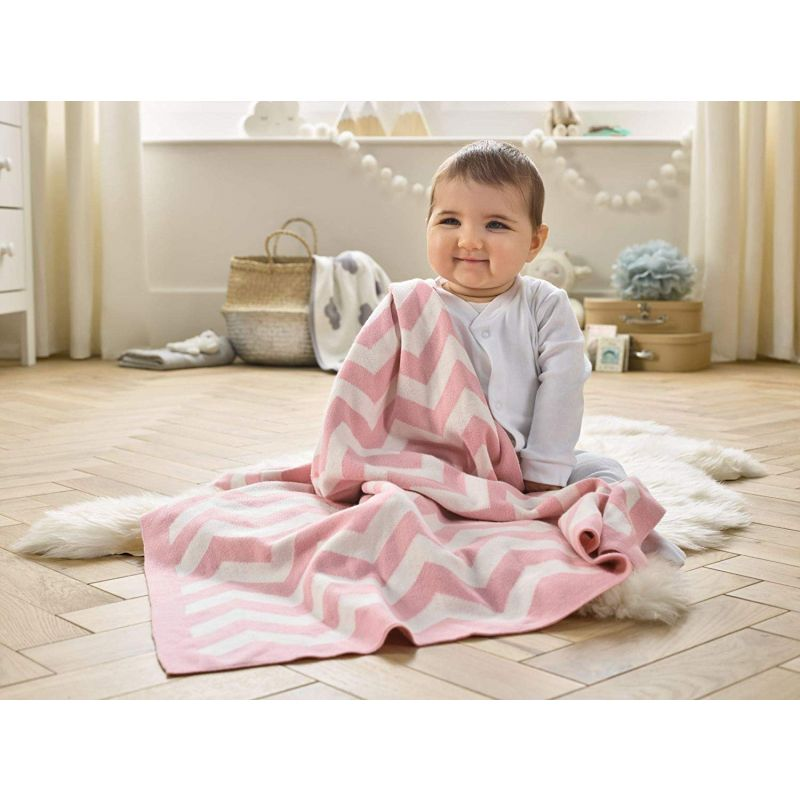 Manta para Bebé Chevron Clair de Lune blush - 70 x 90 cm