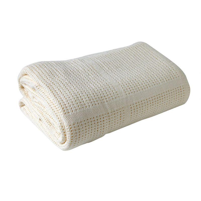 Manta de algodón para Cochecito y de Viaje color crema