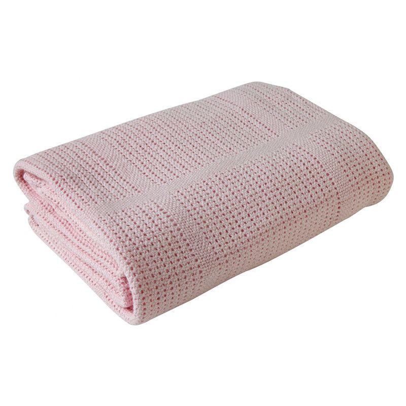 Manta de algodón para Cochecito y de Viaje color rosa