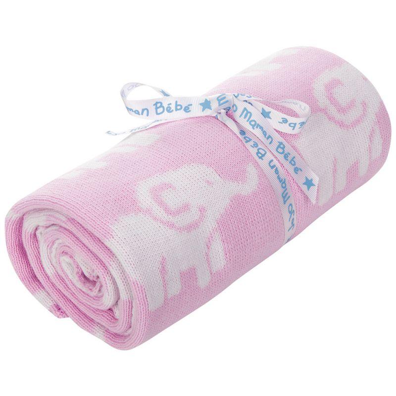 Manta rosa para Bebés Estampado Elefantes