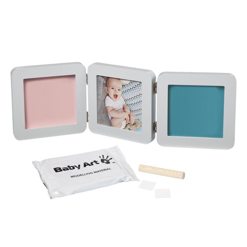 Baby Art. Marco triple para foto Huellas Bebé color pastel