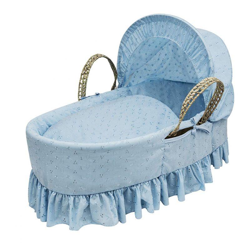 Moisés de palma azul con vestiduras broderie anglaise