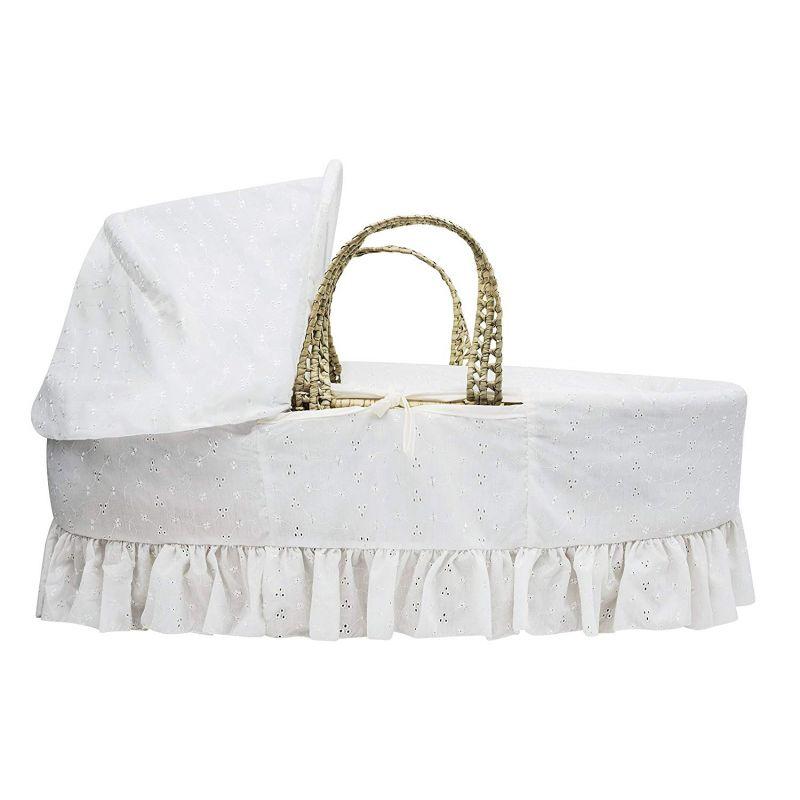 Moisés de palma blanco con vestiduras broderie anglaise
