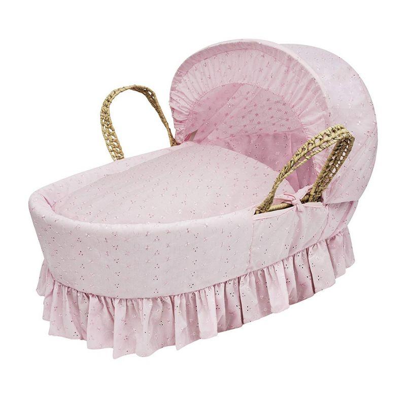 Moisés de palma rosa con vestiduras broderie anglaise