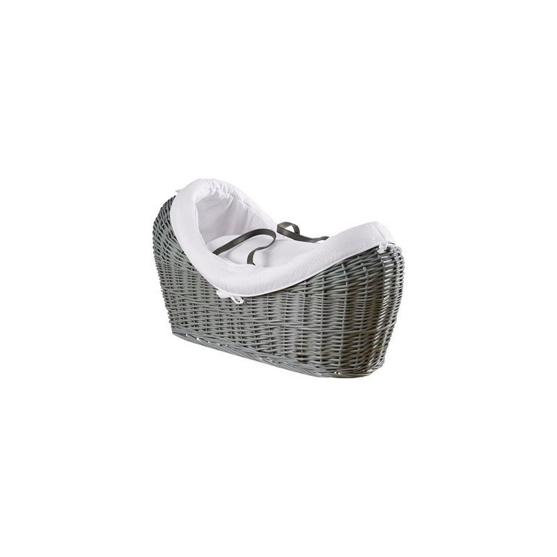 Moisés de mimbre Gris Noah Pod Cotton Dream blanco - Clair de Lune