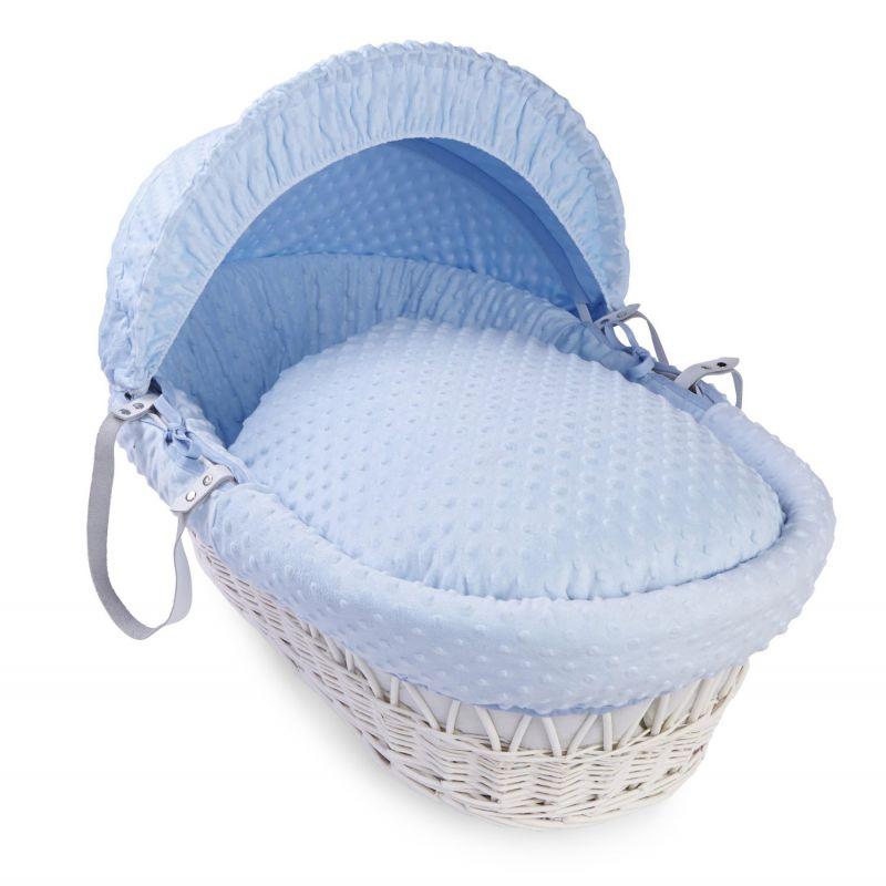 Moises de Mimbre Blanco con capazo azul