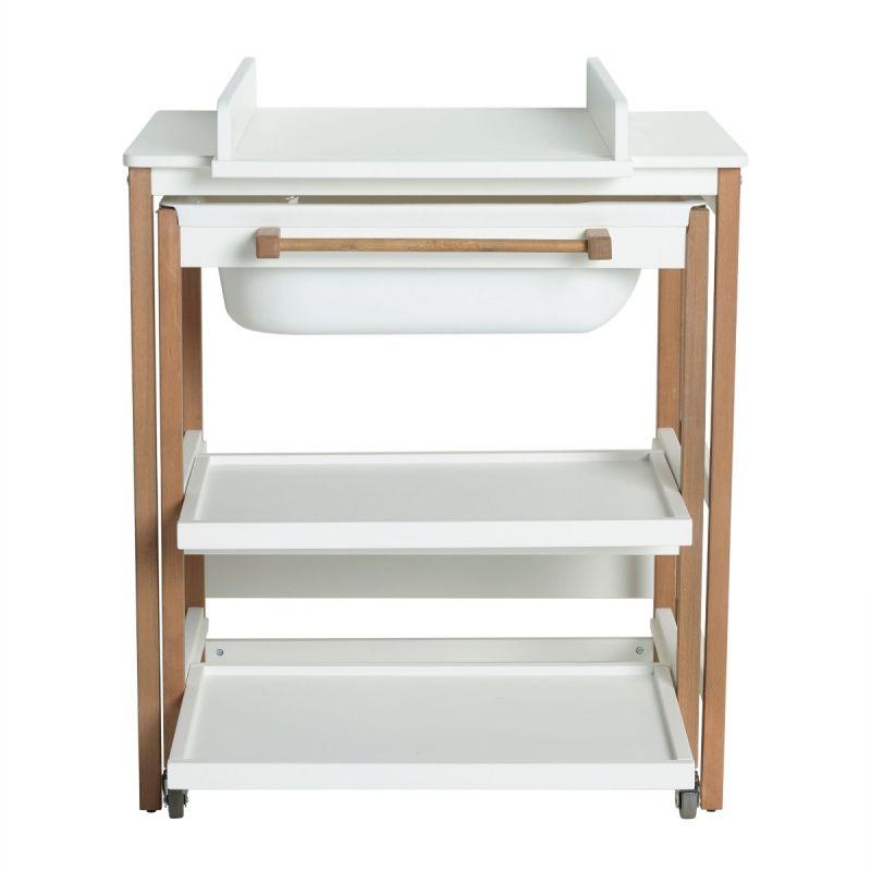 Mueble de Baño Cambiador con Bañera Quax Comfort Smart Blanco y Natural