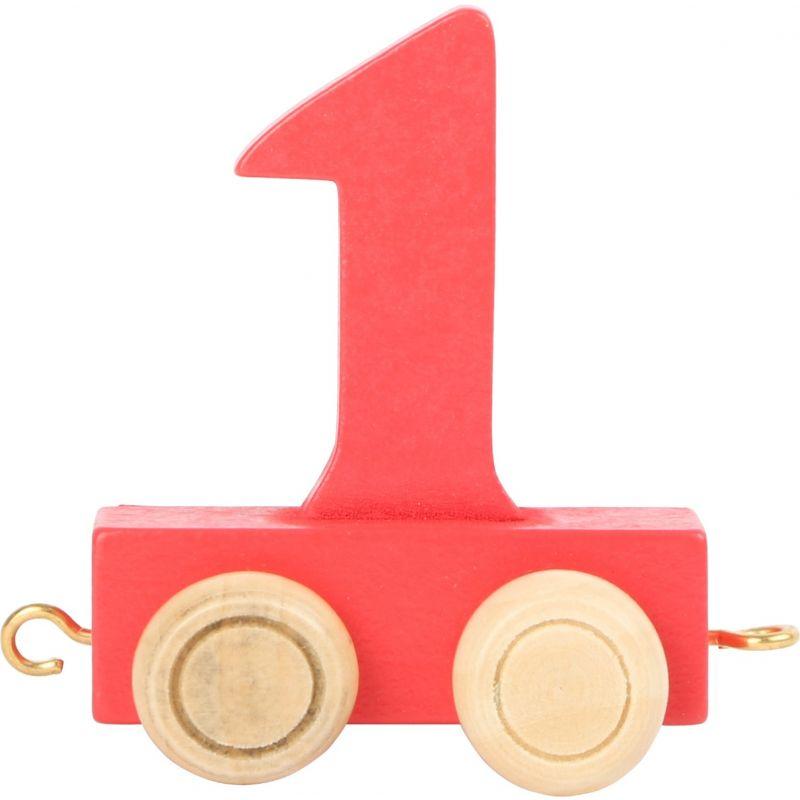 numero 1 de madera Tren de números de colores