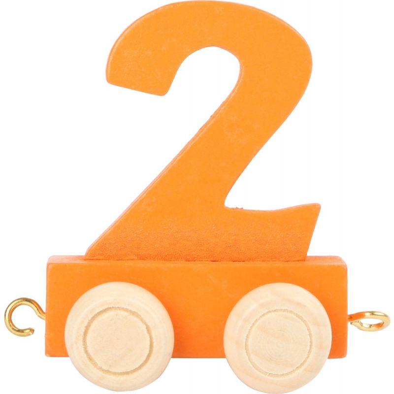 numero 2 de madera Tren de números de colores