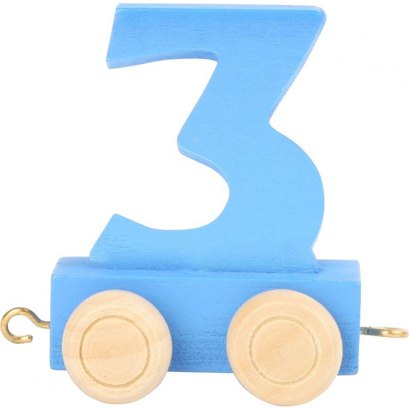 numero 3 de madera Tren de números de colores