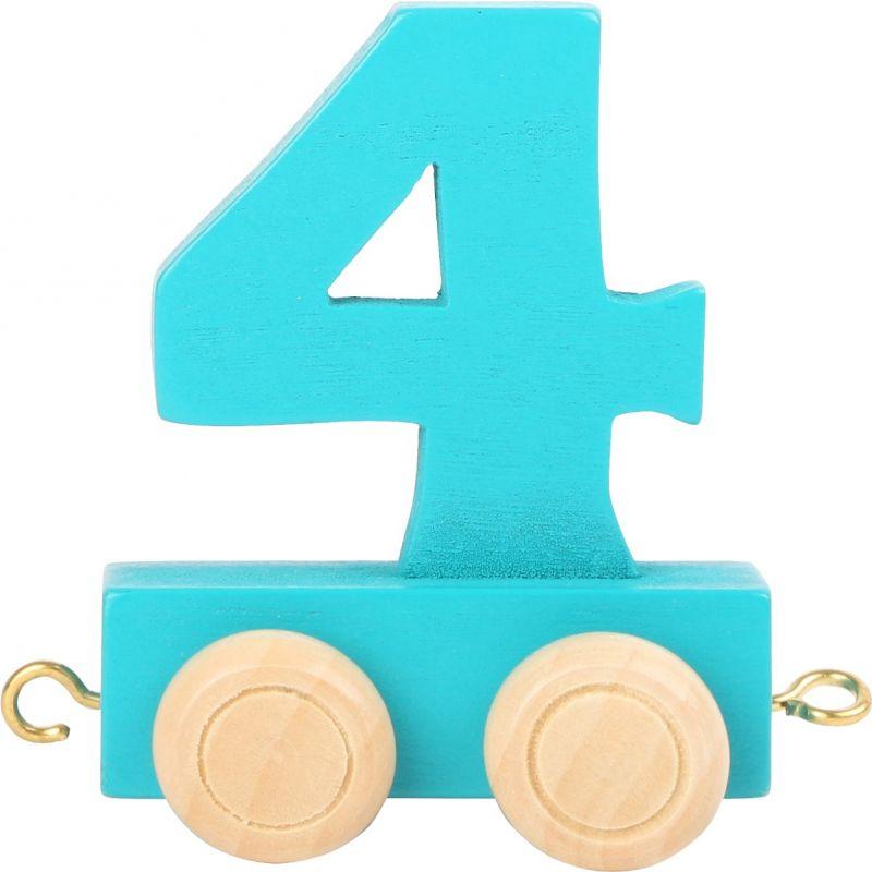 numero 4 de madera Tren de números de colores