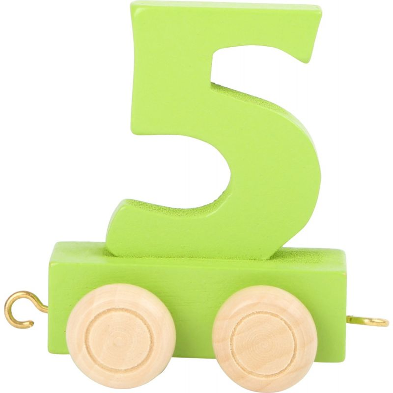 numero 5 de madera Tren de números de colores