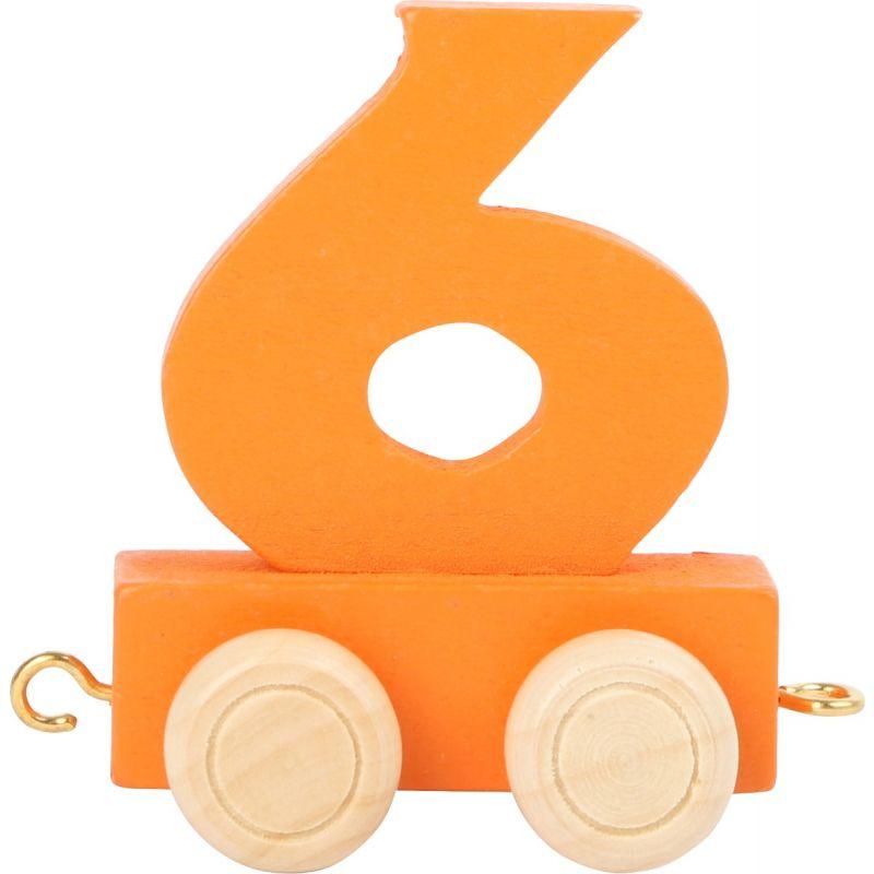numero 6 de madera Tren de números de colores