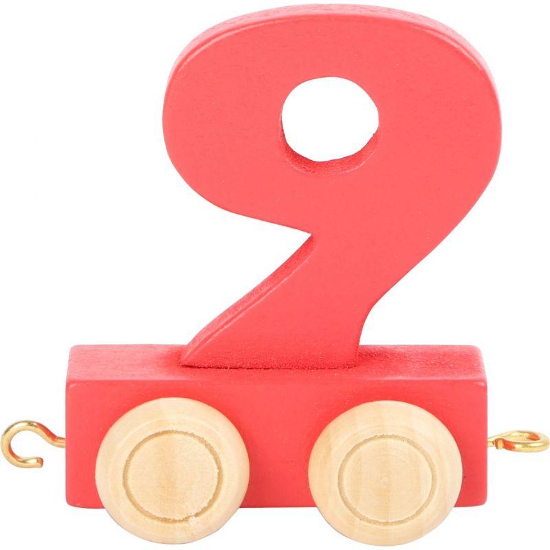 numero 9 de madera Tren de números de colores