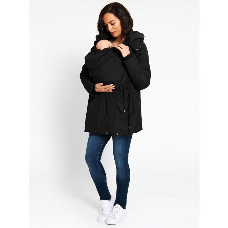 abrigo premamá negro 2 en 1