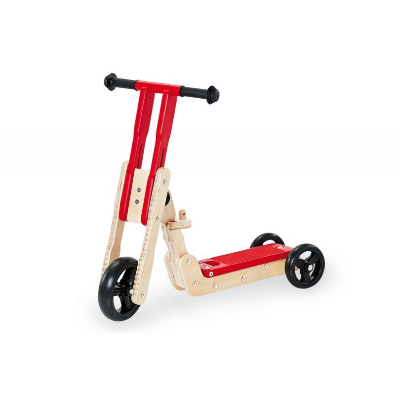 Patinete de Madera rojo Transformable en Scooter - Pinolino