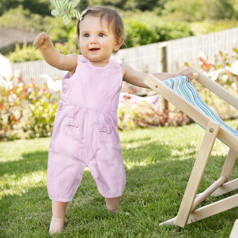 Peto de Bebé y Niña a Rayas Rosas y Blancas
