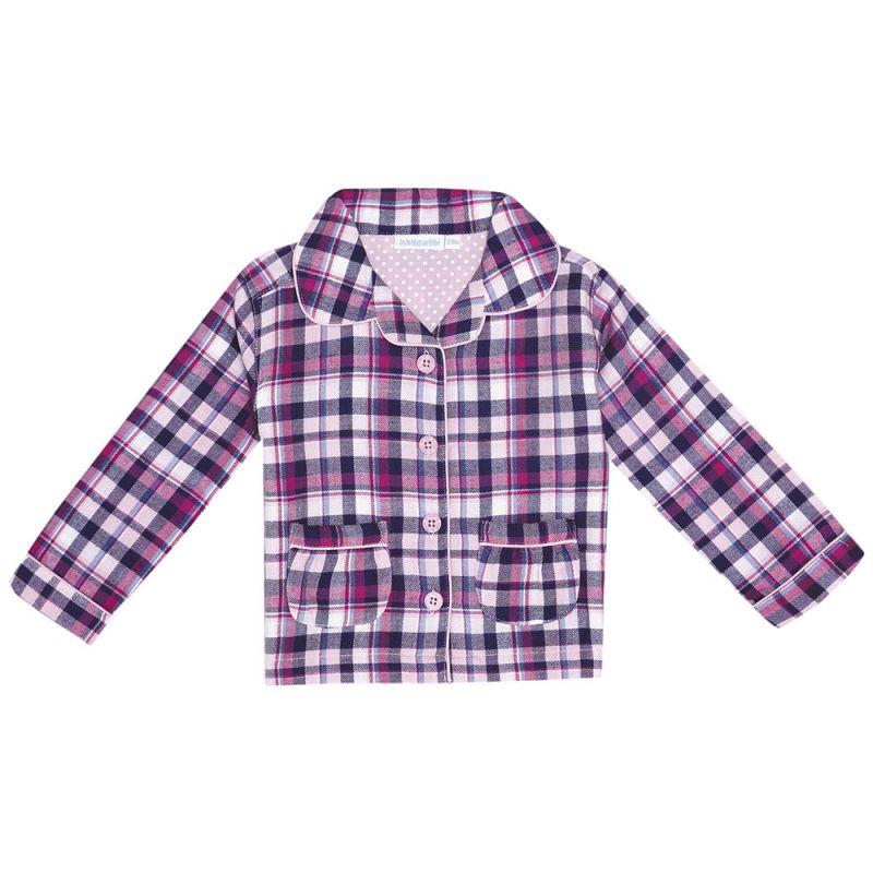 Pijama Largo de Niña de cuadros en color Navy
