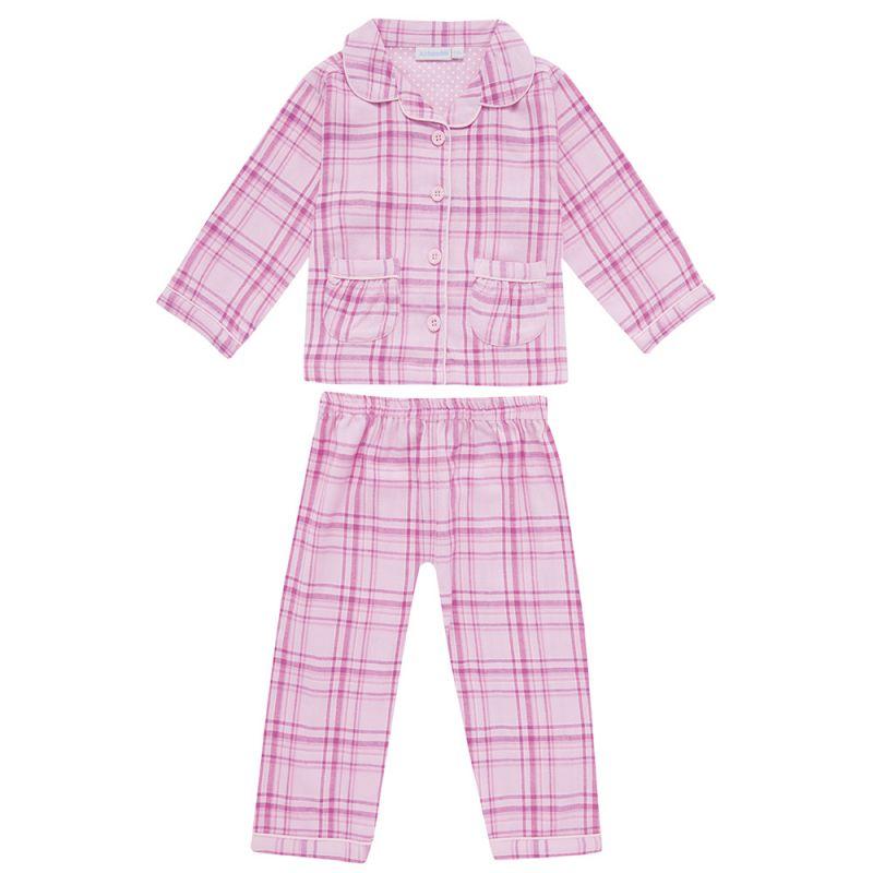 Pijama de algodón para Niña a Cuadros Rosas