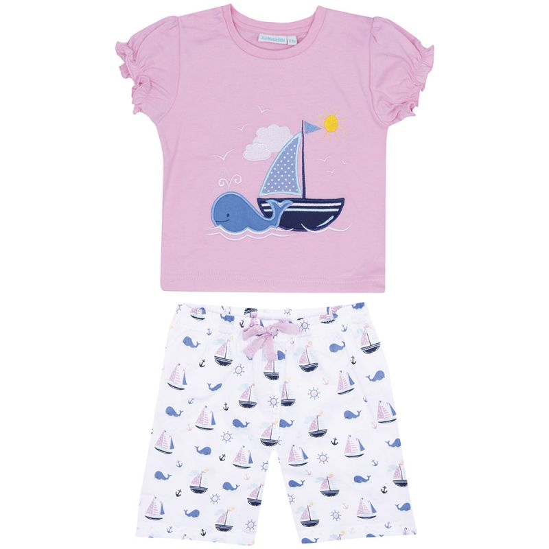 Pijama Corto de Niña en color Rosa Barco Velero