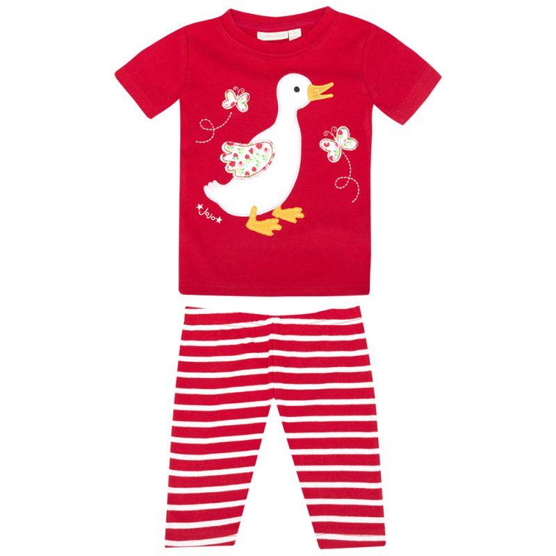 Pijama Corto Ajustado de Niña en color Fresa Patito