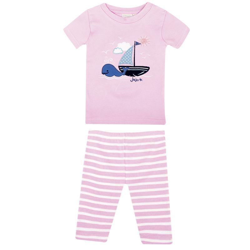 Pijama Corto Ajustado de Niña en color Rosa Barco Velero