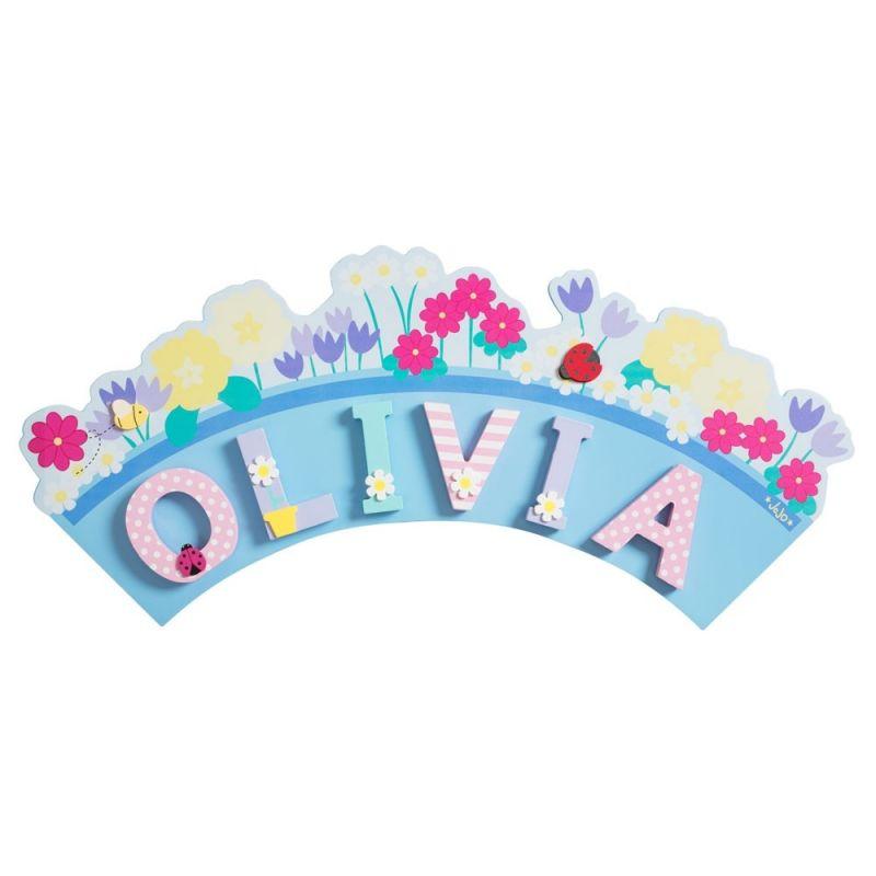 placa para letras de madera infantiles con diseño de flores