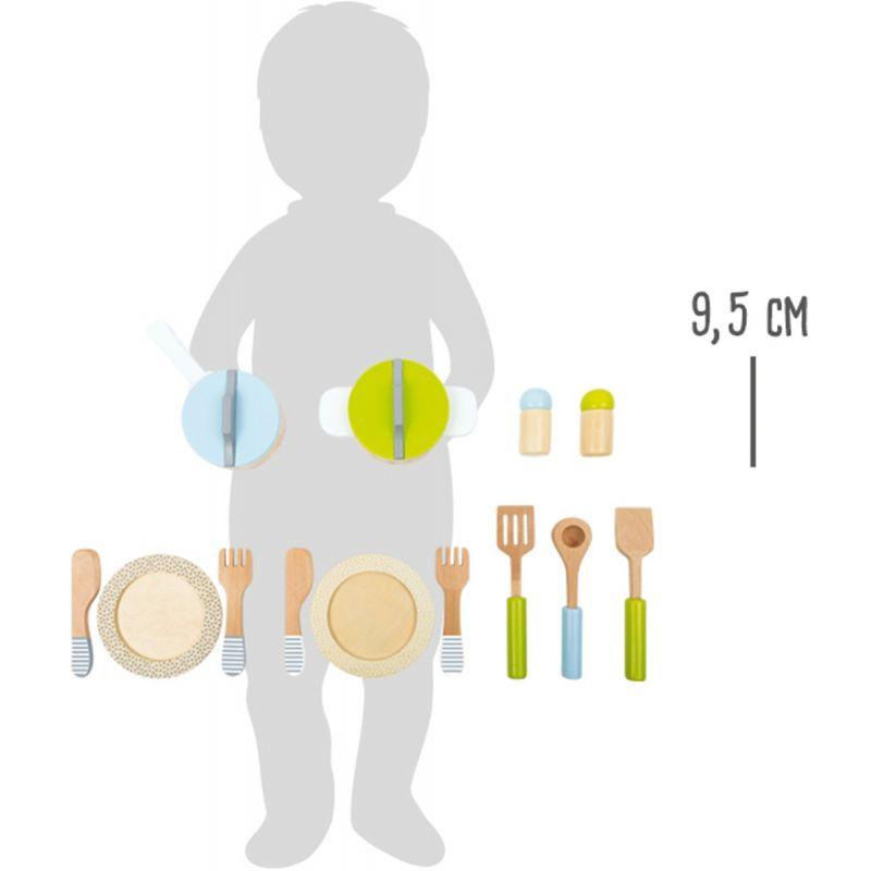 dimensiones Set de Platos, Ollas y cubiertos - Juguete de madera