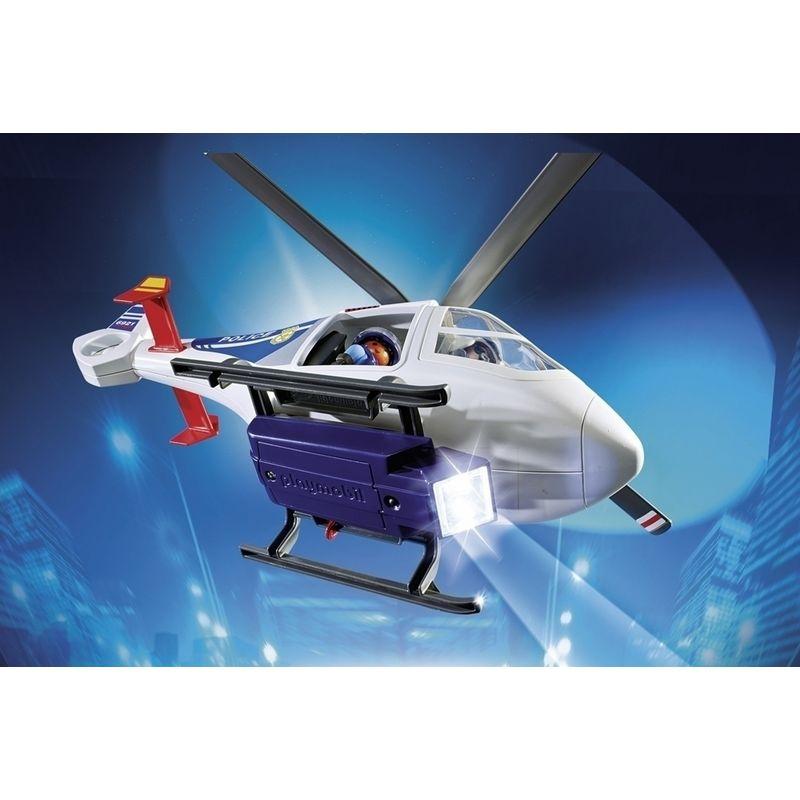 Playmobil Helicóptero de la Policía con Luces de Búsqueda