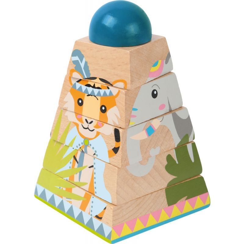 puzzle piramide de madera