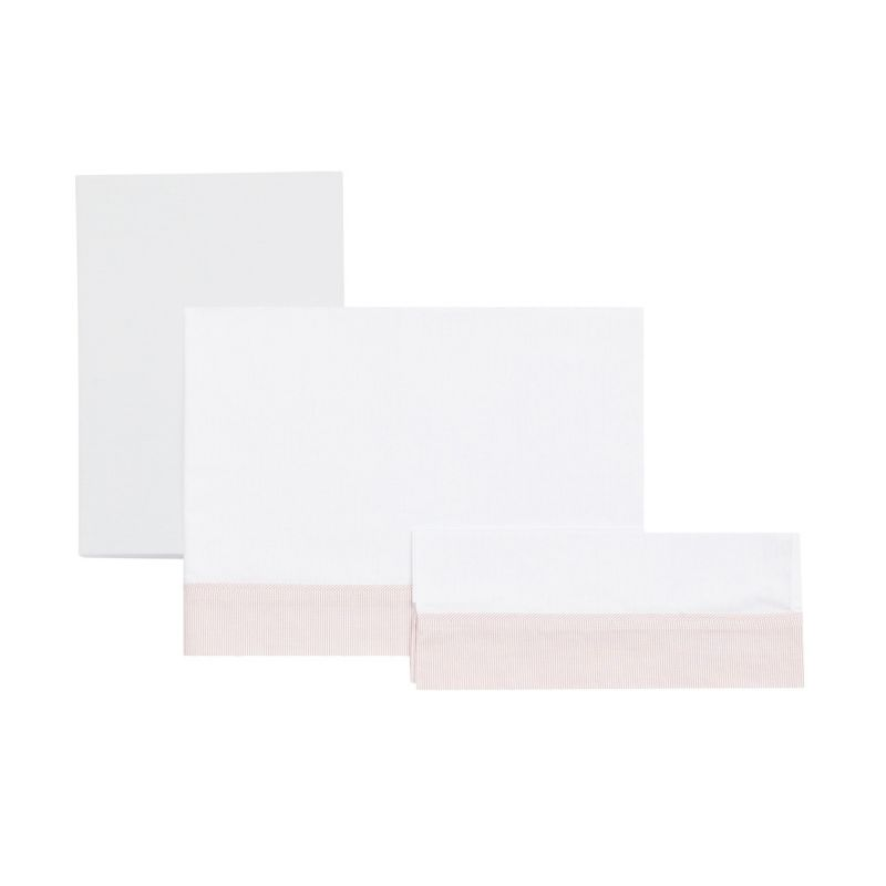 sabana bajera para minicuna, set 3 unidades cambrass star color rosa