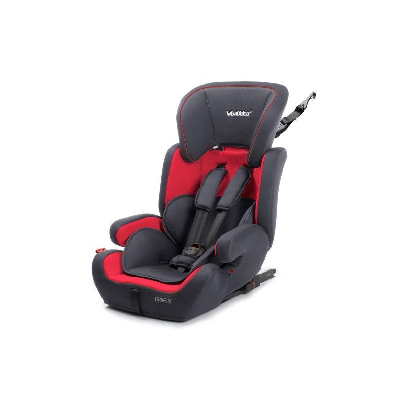 Silla Coche Grupo 1/2/3 Viz Fix Babyauto roja y negra