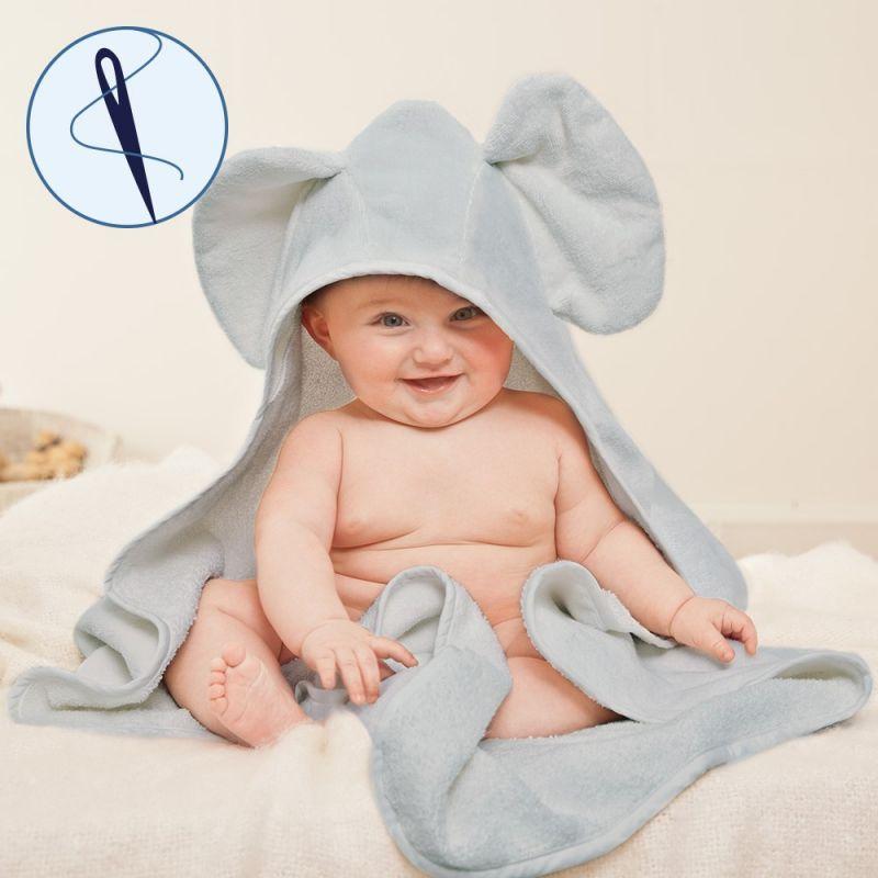 Toalla para Bebés Elefante Gris con Capucha