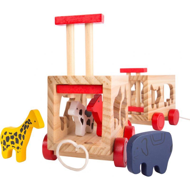 Tren de madera con animales  juguete