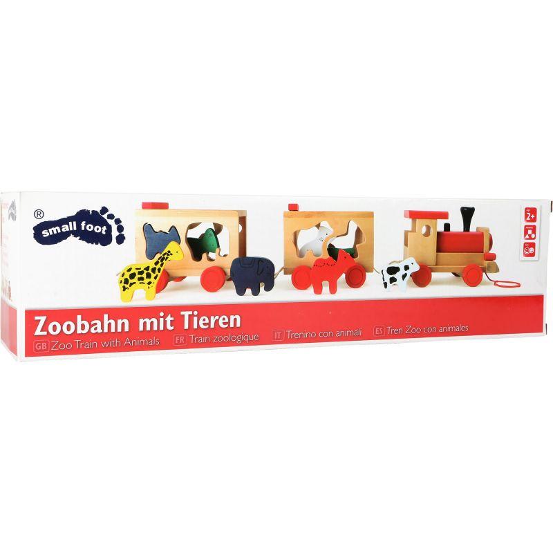 Tren de madera con animales