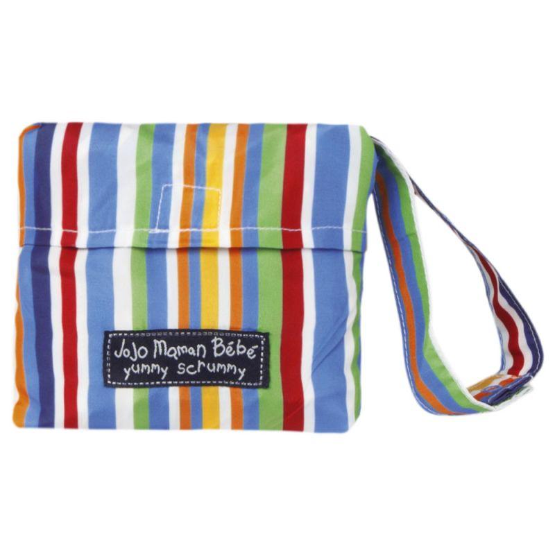 Trona de viaje de tela con estampado de rayas de colores