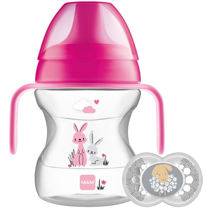 Vaso de Aprendizaje Mam Learn to Drink Cup Animal Friends rosa 190 ml