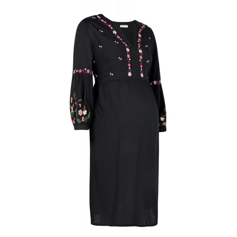 Vestido premamá Negro Bordado de Manga Larga