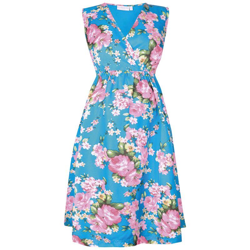 Vestido de fiesta premamá de manga corta con Estampado de Rosas Azules