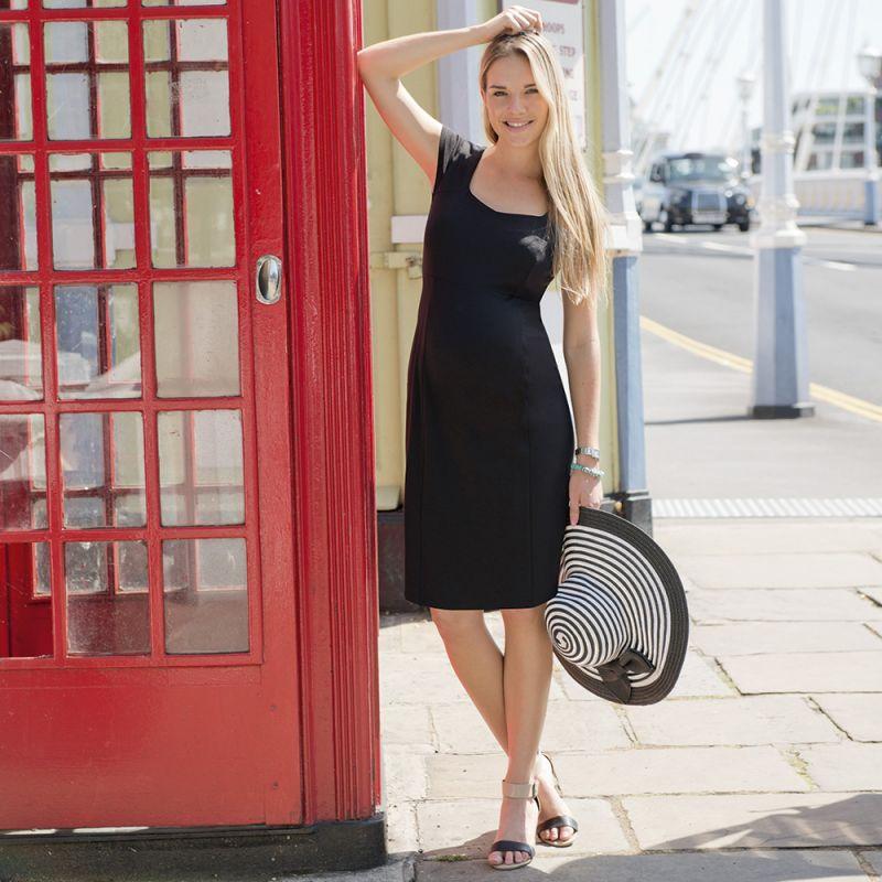 Vestido Premamá de manga corta en color Negro
