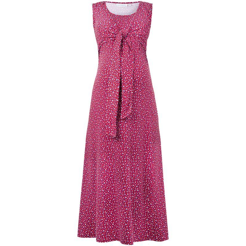Vestido premamá y Lactancia largo con estampado rojo