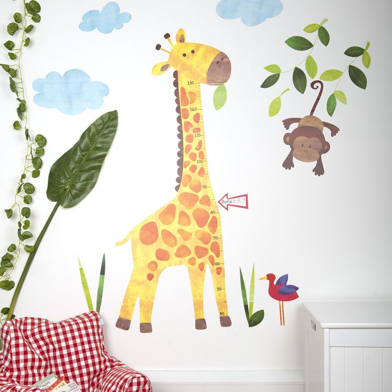 Vinilo infantil de pared jirafa con medidas