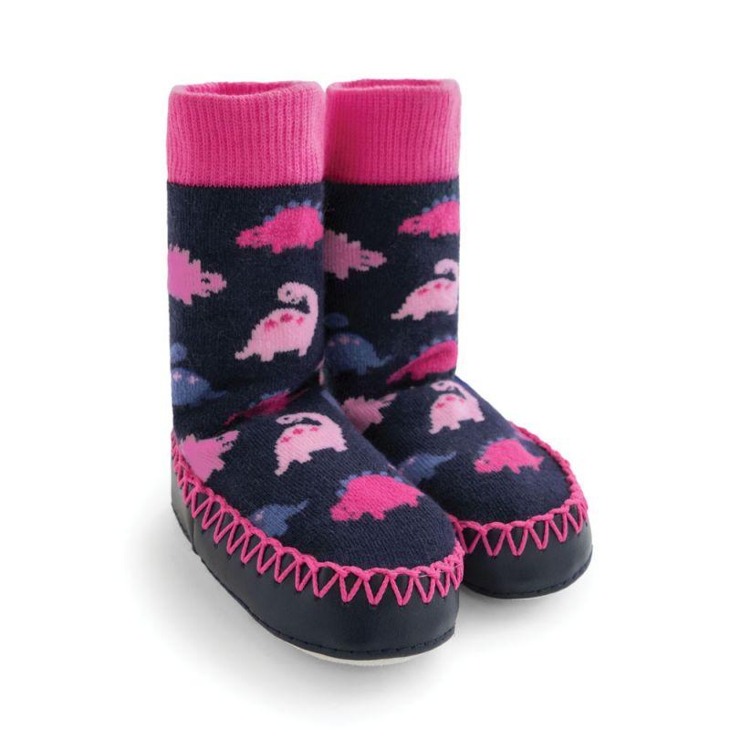 Zapatillas Calcetín para Niñas Dinosaurios Rosas