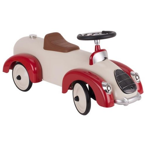 Correpasillos coche retro beige y rojo, de Goki