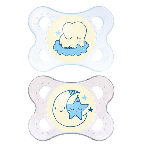 2 Chupetes que Brillan en la Oscuridad 0 meses Azules - Mam