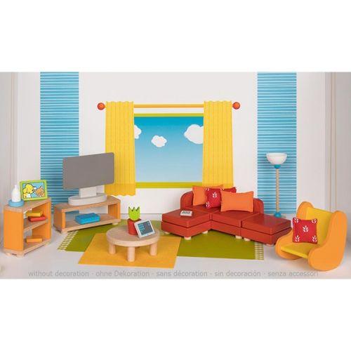 Set de 23 muebles de salón para casa de muñecas, de Goki